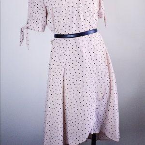 Pink polka dot wrap dress